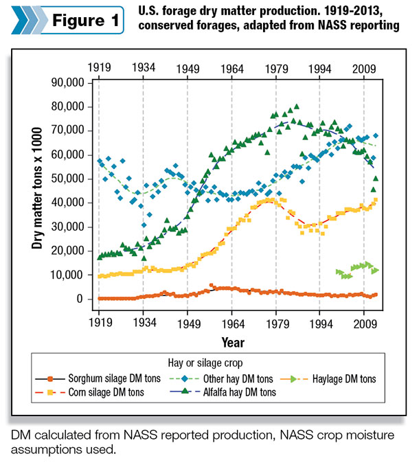 US forage dry matter production