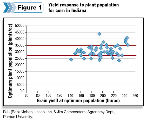 Yield response to plant population for corn in Indiana