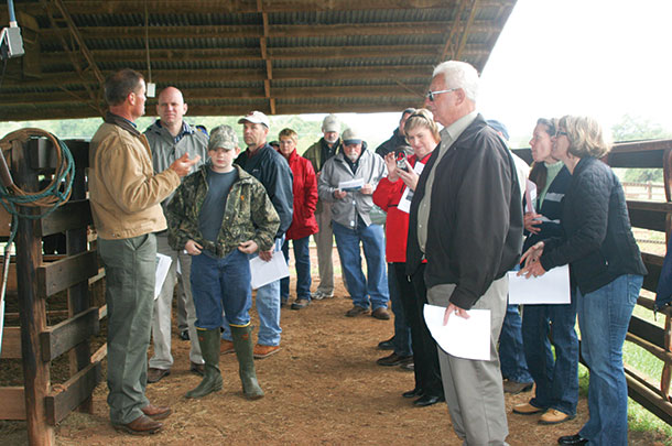 Terry Chandler (far left) welcomes students and producers on his farm