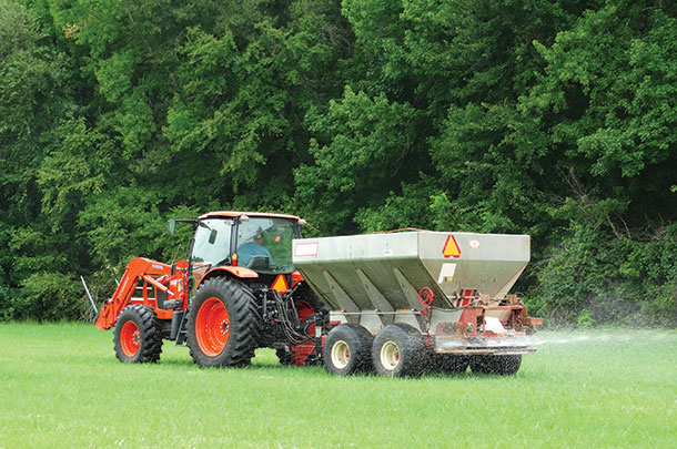An application of granular fertilizer