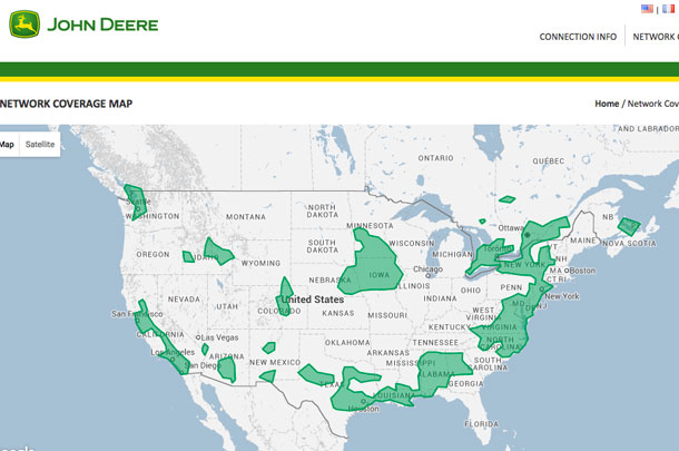 John Deere Mobile RTK Network map