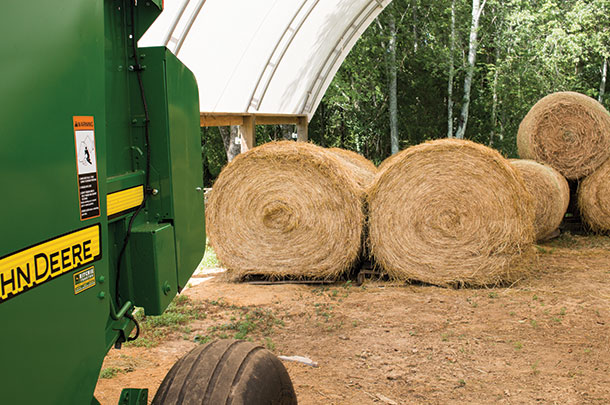 Few bales make it to Schrick and Edwards' hoop barn, as most are sold straight out of the field – an advantage for those who put up quality hay.