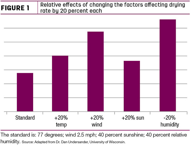 Relative effects of changing the factors affecting drying rate by 20 percent each