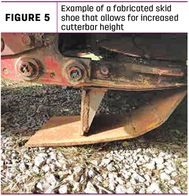 Example of a favricated skid shoe that allows for increased cutterbar height