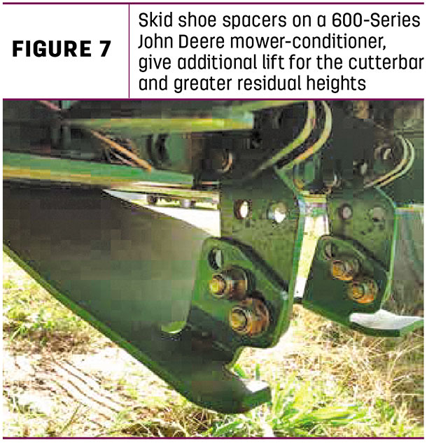 Skid shoe spacers on a 600-Series John Deere mower-conditioner