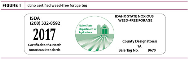 Idaho certified weed-free forage tag