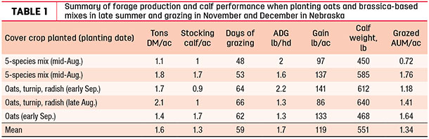 Summary of forage productiona nd calf performance when planting oats and brassica-based mixes