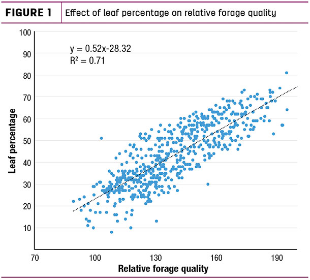 Effect of leaf percentage on relative forage quality