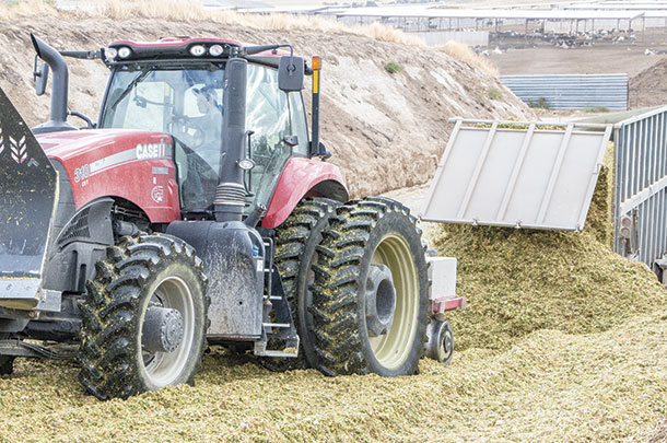 Packing a silage pit