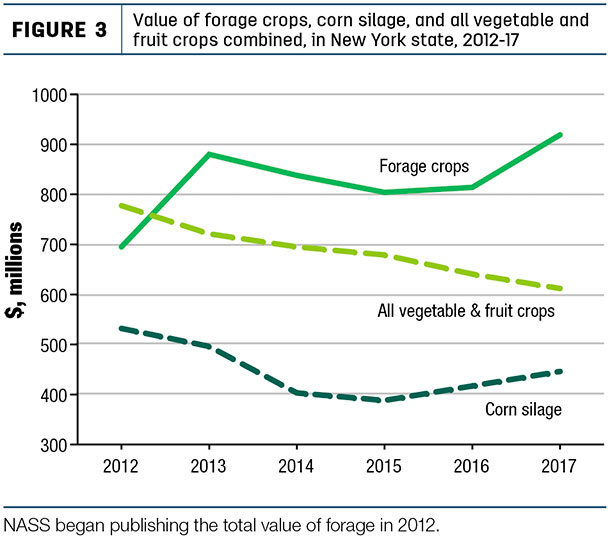 Value of foarage crops, corn silage and all vegetable and fruit crops combined