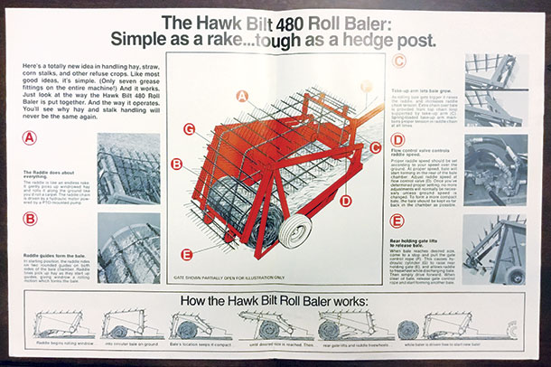 The original sales brochure and desctiption of the Hawk Bilt Baler