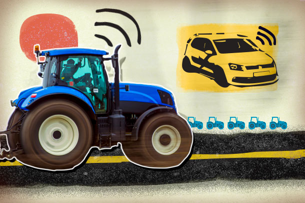 tractor and car communicating illustration