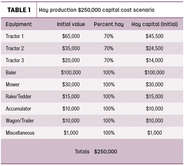 Hay production $250,000 capital cost scenario