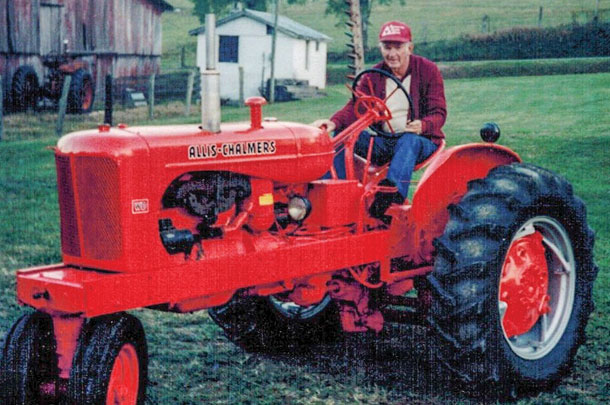 Paul McNew on his 1952 Allis-Chalmers WD