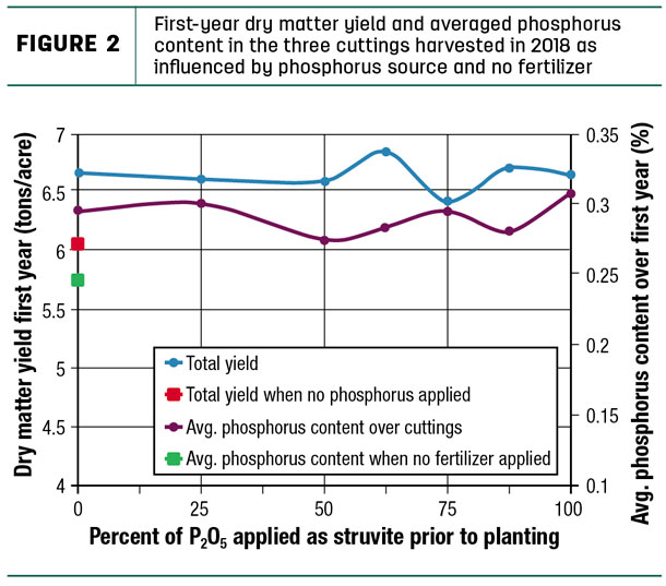 First-year dry matter yield and overaged phosphorus contnet in the three cuttings harvested
