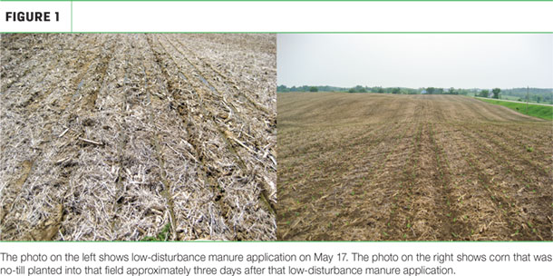 Low-disturbance manure application and corn no-till planted